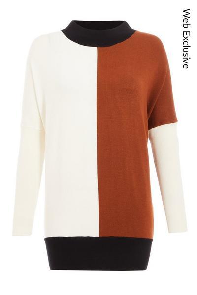 Rust and Cream Light Knit Contrast Jumper